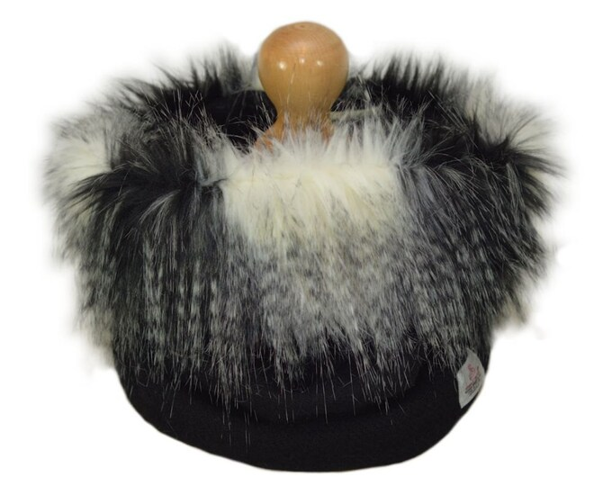 Harris Tweed Jet Black Luxury Grey Multi Faux Fur Trimmed Cowl Neck Scarf