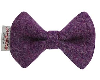 Harris Tweed Purple Heather Designer Dog Bow Tie