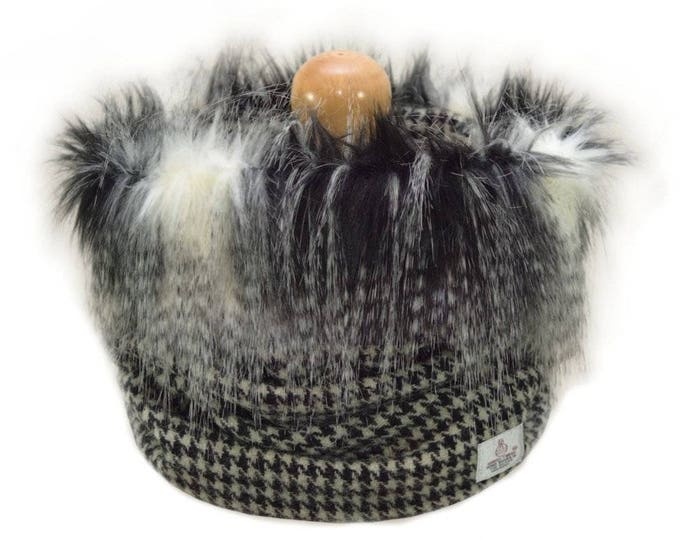 Harris Tweed Black Houndstooth Luxury Grey Multi Faux Fur Trimmed Cowl Neck Scarf