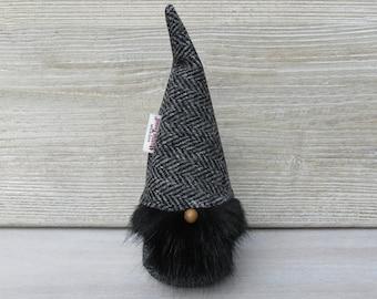Harris Tweed Grey Herringbone Scandinavinan Tomte with Black Bushy Beard