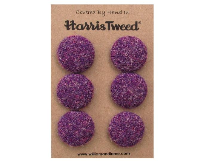 Harris Tweed Pure Wool Heather Purple Handmade Covered Set of 6 Buttons 24mm Diameter