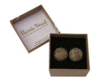 Harris Tweed Beige Mix Handmade Boxed Cufflinks