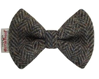 Harris Tweed Woodland Herringbone Designer Dog Bow Tie
