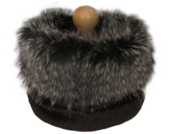 Linton Tweed Chocolate Brown Cowl Neck Scarf with Taupe Faux Fur Trim