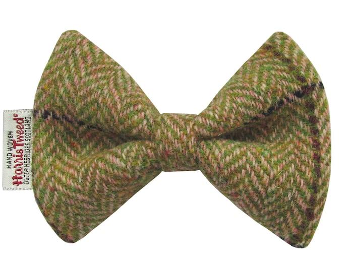 Harris Tweed Pink & Apple Herringbone Designer Dog Bow Tie