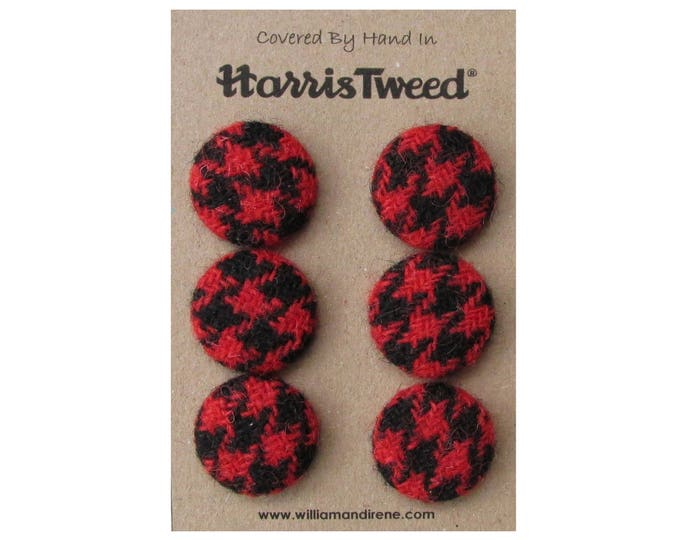 Harris Tweed Pure Wool Red & Black Houndstooth Handmade Covered Set of 6 Buttons 24mm Diameter