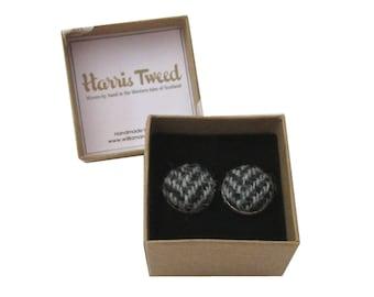 Harris Tweed Black & Grey Herringbone Handmade Boxed Cufflinks