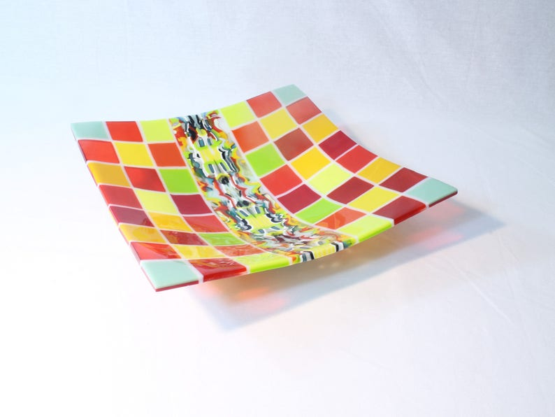 Deep Plate in YellowRedGreen colors Multicolored fused glass 11.8 bowl Pattern bars and on-edge construction