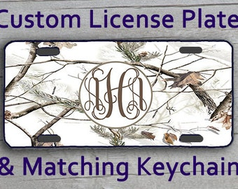 Custom Monogrammed Personalized License Plate Vanity Car Tag Real Tree Camo 1101