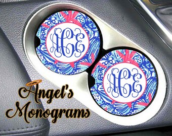 New Custom Monogrammed personalized Car Cup Holder Coaster. Lily Pulitzer She She Shell inspired Vanity Car Auto Coaster. Great Gifts #1072