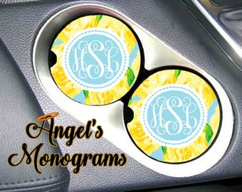 Custom Monogrammed personalized Car Cup Holder Coaster. Yellow First Impressions Lilly P inspired Vanity Car Auto Coaster. Great Gift #4065