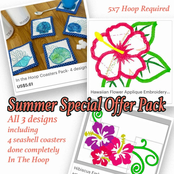 Summer Embroidery Designs Special Offer Seashell Coasters Etsy