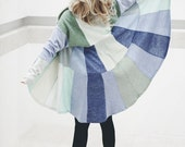Unique Wool Coat Recycled Stylish Cloak Fashionable Blue Pastels cape