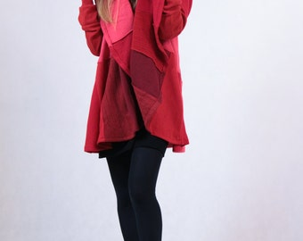 Red Pink Upcycled Wool Coat Handmade Custom Made Coat Hot Coolawoola Cardigan Woman Red Wool Coat For WOman Upcycled Clothing Woolen Sweater