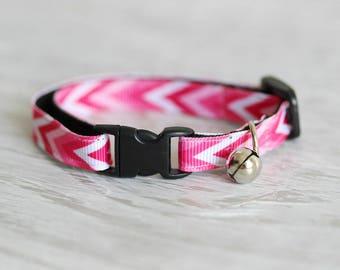 Pink Cat Collar Pink Сhevron Cat Collar White Pink Cat Collar Safety Cat Collar Geometric Cat Collar Breakaway Buckle Cat Collar Modern Cat
