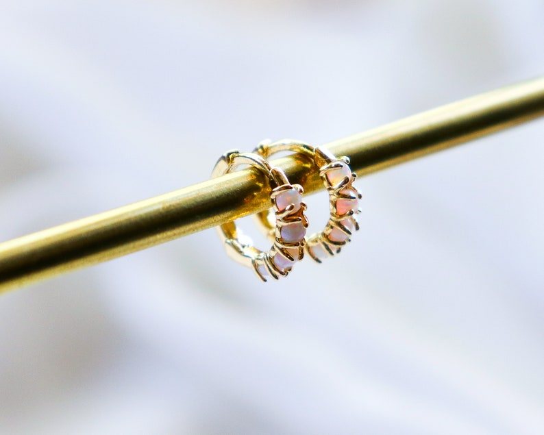 Mini Hoop Earrings Gold Opal Huggies Opal Earrings Opal Huggies Opal Opal Hoop Earrings Hoops Modern Jewellery October White Opal