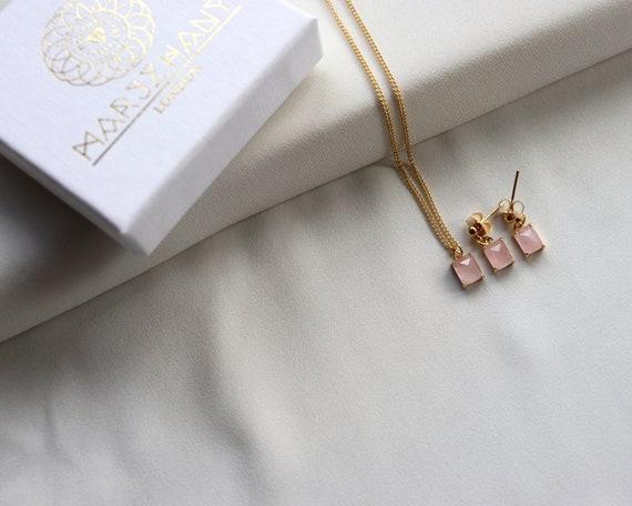 Rose Quartz Gemstone Necklace, 14k Gold Filled, Rose Quartz Pendant, Rectangle Gemstone, Gold, Pink Gemstone, Minimalist, Dainty, Layered