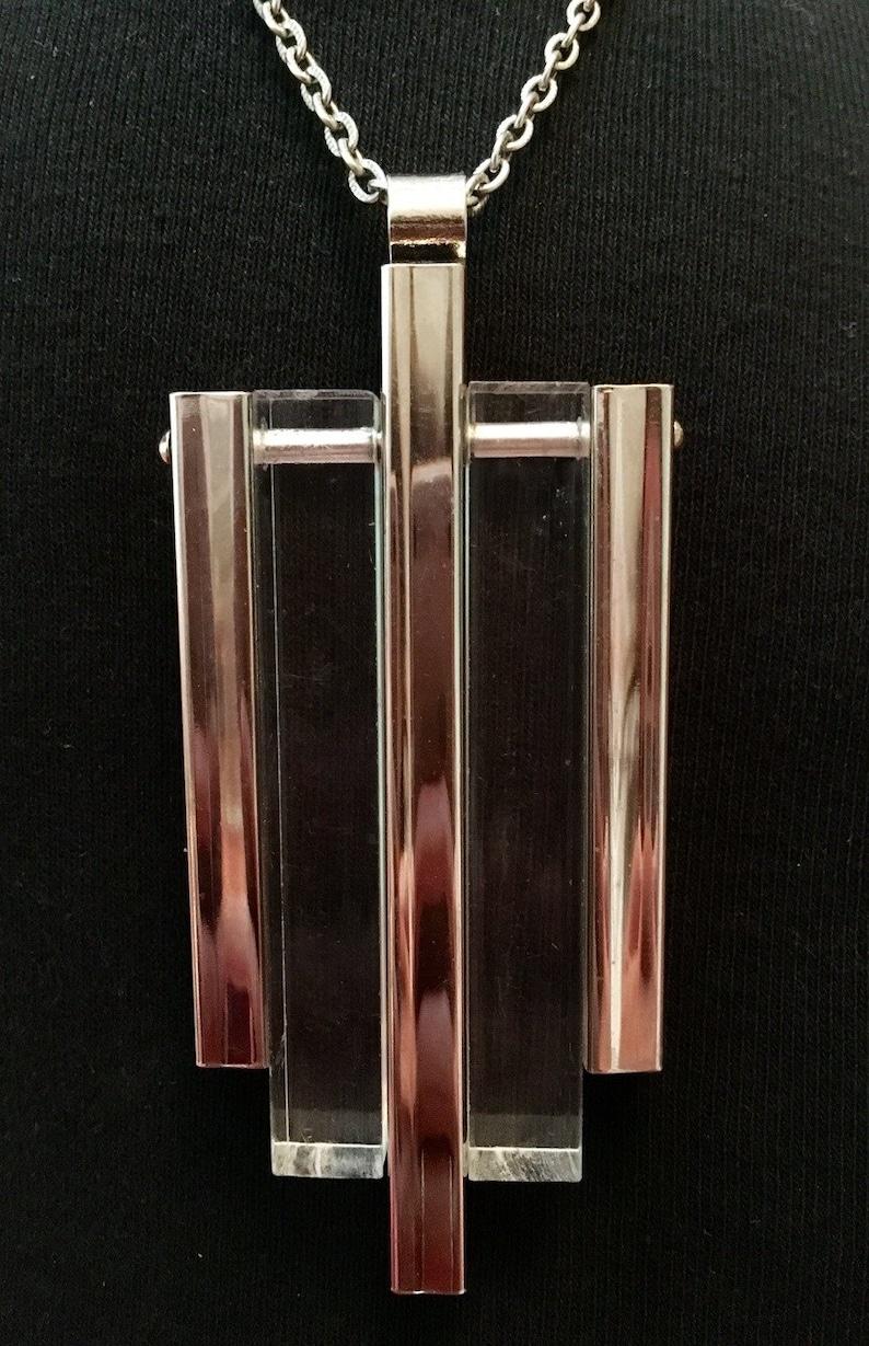 Mid Century Lucite  /& Chrome Necklace