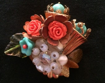Lucite Beaded Flower Brooch / Pin