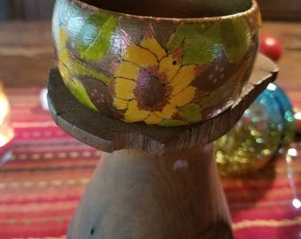 Hand-painted wooden bangle