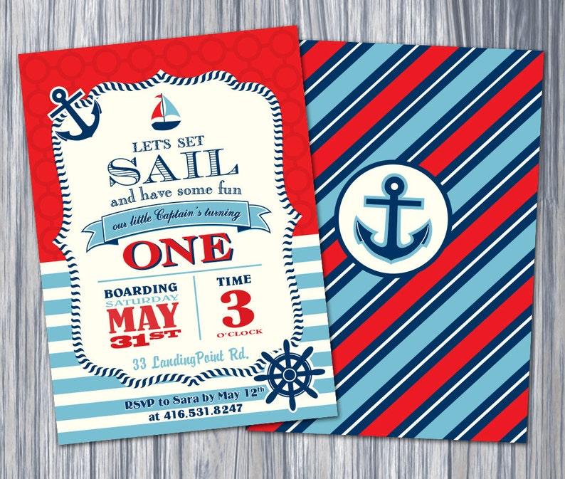 Nautical 1st Birthday Invitation Invite Printable