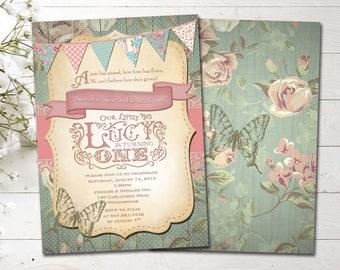 Shabby Chic 1st Birthday/Vintage 1st Birthday Girl/DIY Printable