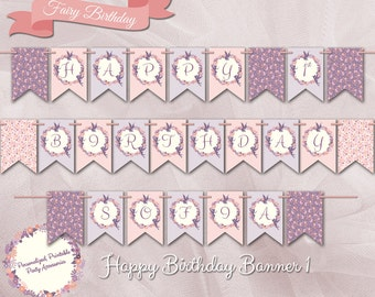 Silhouette Fairy 1st Birthday Girl Banner/ Personalized Banner/ DIY Printable