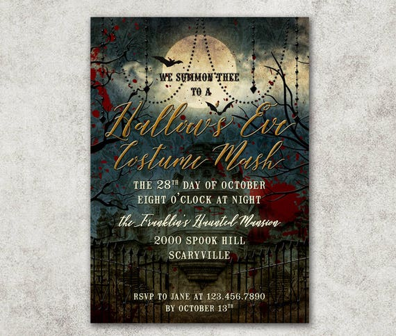 Halloween Party Invitation Haunted Mansion