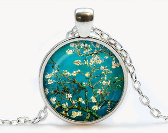 Items Similar To Almond Blossoms Necklace Van Gogh Magnolia Tree