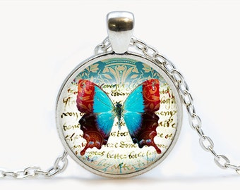 Butterfly Journal art Glass pendant. Butterfly Necklace. Butterfly jewelry, birthday gift
