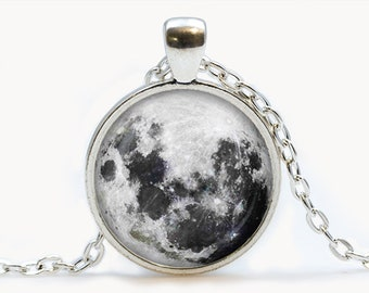 Moon Glass pendant. Planet necklace. Space, universe jewelry, birthday gift