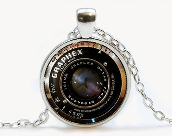 Camera Lens Vintage grahpex pendant. Vintage Camera Lens Necklace. Camera Steampunk jewelry. Birthday gift