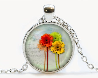 Gerbera pendant. Flowers necklace. Flowers jewelry. Birthday gift