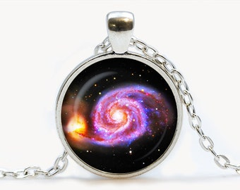 The Whirlpool Galaxy Glass pendant. Nebula Cosmos necklace. Space, universe jewelry, birthday gift