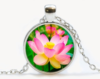 Lotus pendant. Flowers necklace. Flowers jewelry. Birthday gift