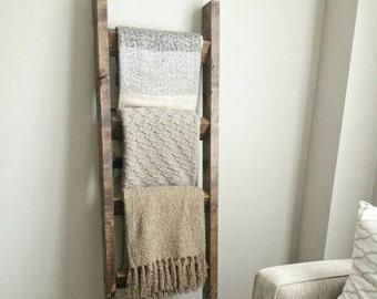 Rustic wood blanket ladder || rustic towel ladder rack || nursery decor || housewarming gift || farmhouse ladder