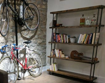 Industrial Pipe And Wood Bookcase