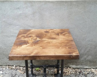 Industrial Pipe And Wood Side Table