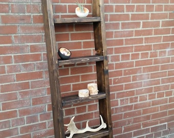 Rustic Wood Ladder Shelf