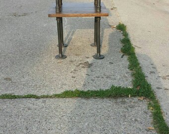 Double Decker Side Table With Industrial Pipe Legs