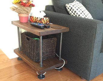 Rustic Industrial Pipe And Wood Side Table