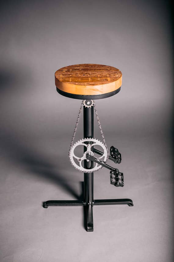 Unique Industrial Bar Stool Upcycled Bicycle Bar Stool Metal Industrial Kitchen Stool Steampunk Island Stool Recycled Bike Parts