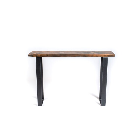 Steel And Wood Console Table Rustic Entry Table Etsy
