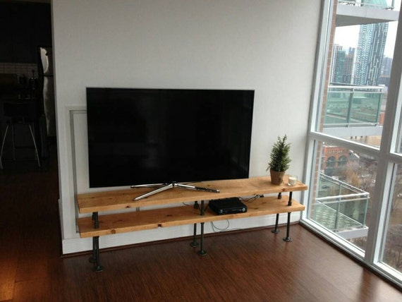 industrial pipe and wood tv stand entertainment unit etsy
