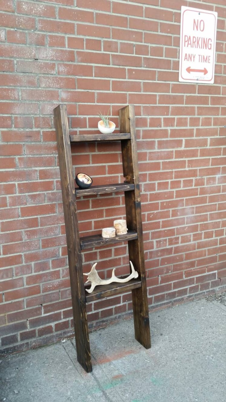 Brilliant Rustic Wood Ladder Shelf Freestanding Rustic Ladder Bookcase Shelf Home Interior And Landscaping Synyenasavecom