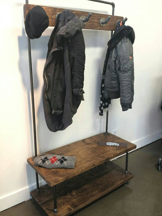 Industrial Pipe And Wood Entry Coat Rack Bench Entrance Etsy Cool Entrance Coat Rack Bench