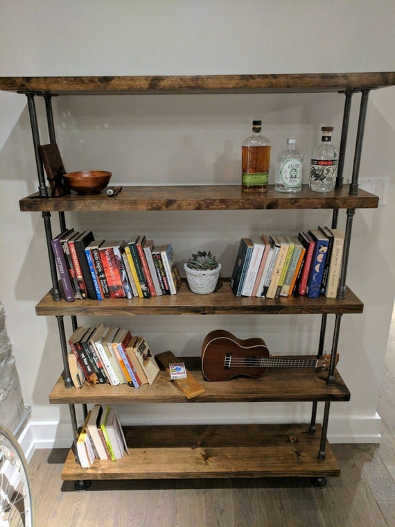 Industrial Pipe And Wood Bookcase Rustic Metal