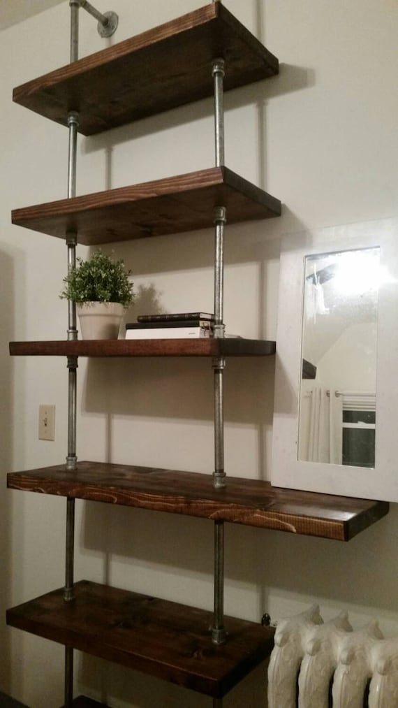 Rustic Industrial Pipe And Wood Shelving Unit Floor To Ceiling