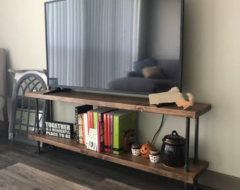 Industrial TV stand || media console || bookshelf || rustic TV stand || industrial chic furniture || steampunk || steel and wood TV stand