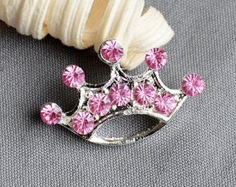 3 Rhinestone Button Brooch Embellishment FREE Shipping of 20.00 Order Pink Crystal Tiara Crown Wedding Brooch Hair Pin BT544